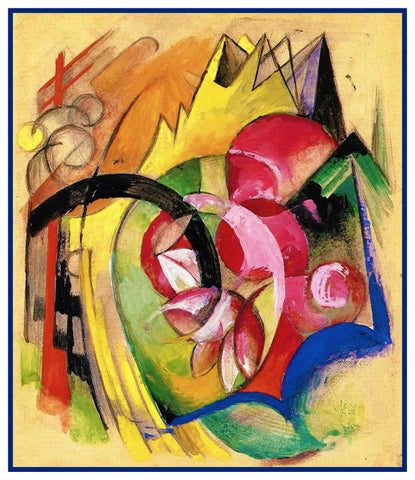Abstract Flowers by Expressionist Artis Franz Marc Counted Cross Stitch or Counted Needlepoint Pattern