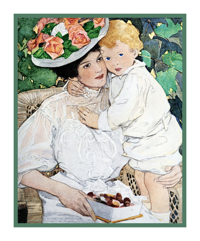 Baby Snuggling With Auntie By Jessie Willcox Smith Counted Cross Stitch or Counted Needlepoint Pattern