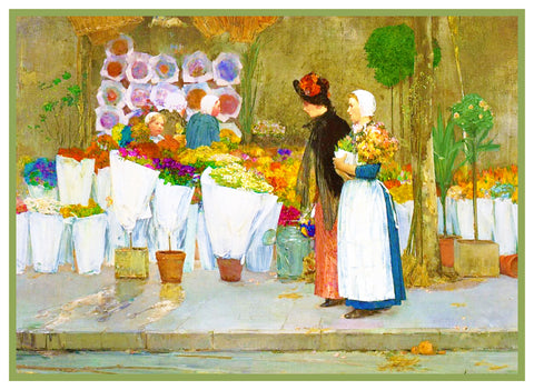 At the Florist by American Impressionist Painter Childe Hassam Counted Cross Stitch or Counted Needlepoint Pattern