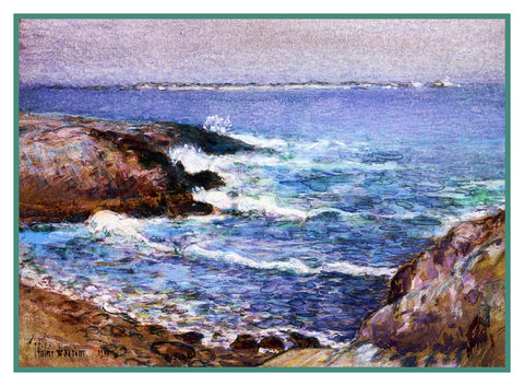 Cannon Beach Oregon by American Impressionist Painter Childe Hassam Counted Cross Stitch or Counted Needlepoint Pattern