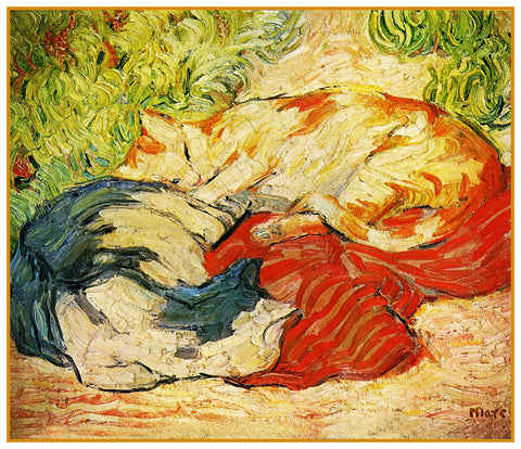 Two Cats Sleeping in the Sun by Expressionist Artis Franz Marc Counted Cross Stitch or Counted Needlepoint Pattern