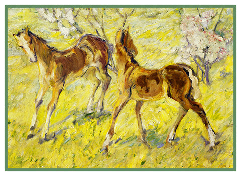 2 Horse Foals in Spring by Expressionist Artis Franz Marc Counted Cross Stitch or Counted Needlepoint Pattern