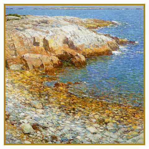 Beach at Broad Cove in Isle of Shoals by American Impressionist Painter Childe Hassam Counted Cross Stitch or Counted Needlepoint Pattern