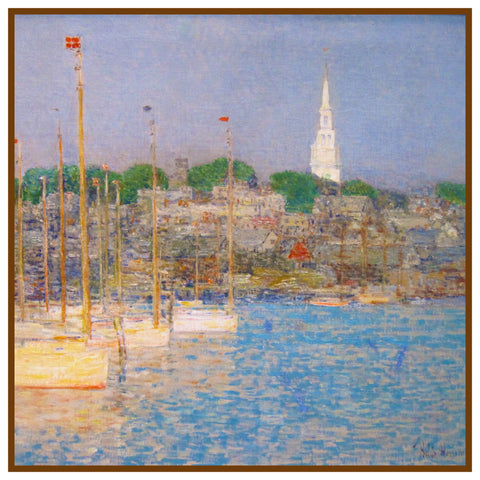 Cat Boats at Newport Rhode Island by American Impressionist Painter Childe Hassam Counted Cross Stitch or Counted Needlepoint Pattern
