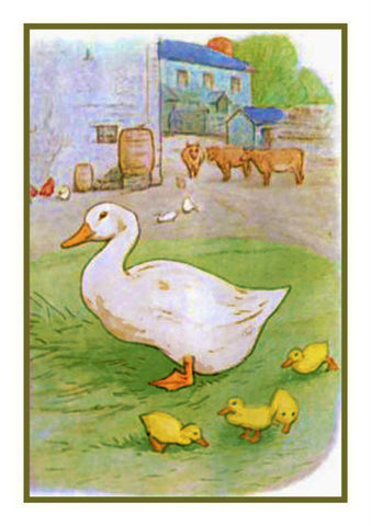 Jemima Puddleduck with her Babies inspired by Beatrix Potter Counted Cross Stitch or Counted Needlepoint Pattern