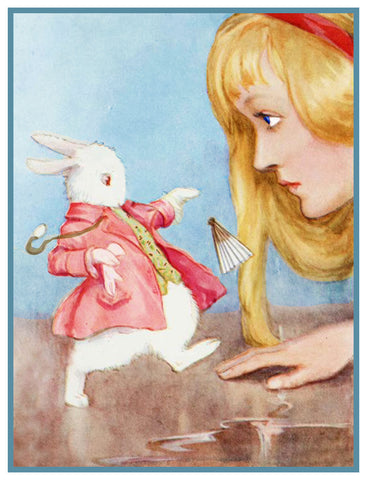 Alice and the White Rabbit from Alice's Adventures in Wonderland by Margaret Tarrant Counted Cross Stitch or Counted Needlepoint Pattern