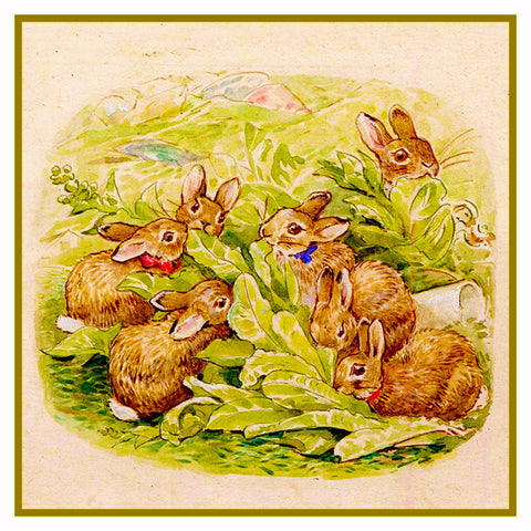 Flopsy Rabbit's Family Eats Lettuce inspired by Beatrix Potter Counted Cross Stitch or Counted Needlepoint Pattern