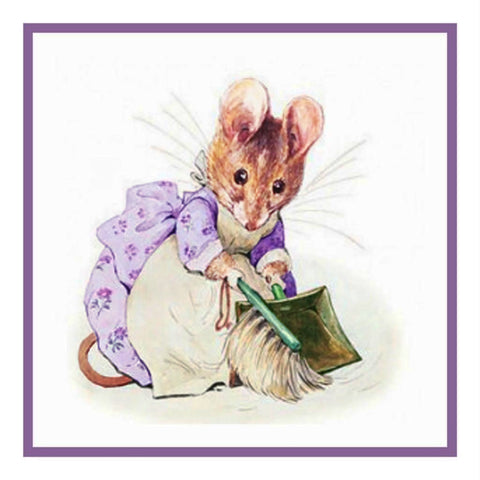 Hunca Munca Mouse inspired by Beatrix Potter Counted Cross Stitch or Counted Needlepoint Pattern