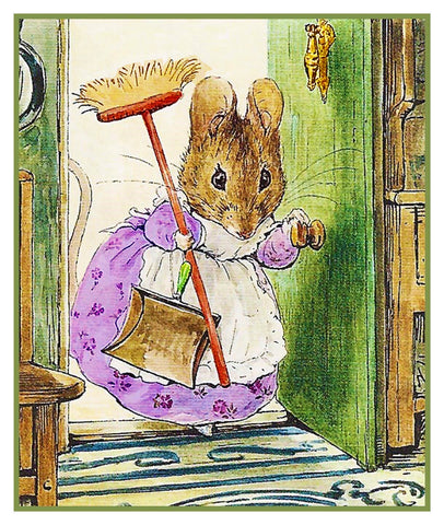 Hunca Munca Mouse Cleaning inspired by Beatrix Potter Counted Cross Stitch or Counted Needlepoint Pattern