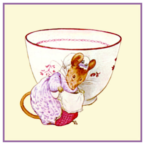 Lady Mouse Tea Cup inspired by Beatrix Potter Counted Cross Stitch or Counted Needlepoint Pattern