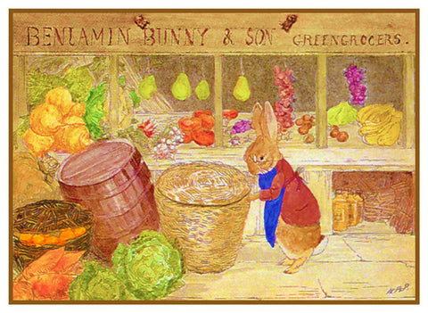 Benjamin Rabbit's Produce Store inspired by Beatrix Potter Counted Cross Stitch or Counted Needlepoint Pattern