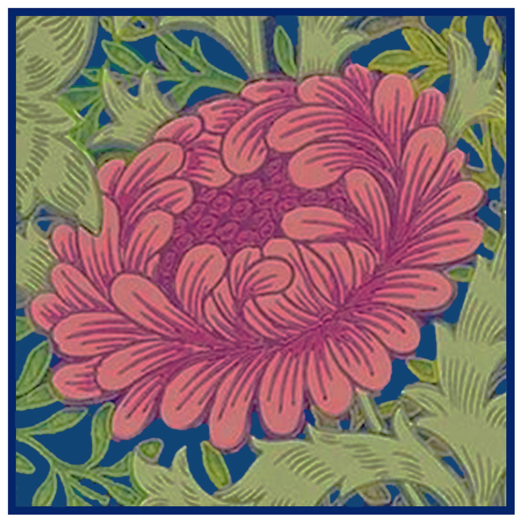 Chrysanthemum Design Detail Pink and Blues by Arts and Crafts Movement Founder William Morris Counted Cross Stitch or Counted Needlepoint Pattern - Counted Cross Stitch - Orenco Originals LLC