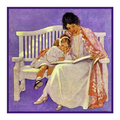 Enjoying a Story With Mama By Jessie Willcox Smith Counted Cross Stitch or Counted Needlepoint Pattern