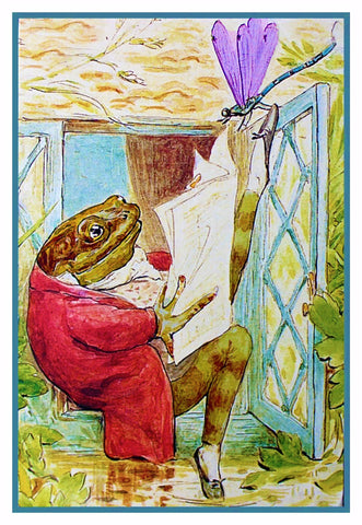 Jeremy Fischer Frog Reads The News Inspired by Beatrix Potter Counted Cross Stitch or Counted Needlepoint Pattern