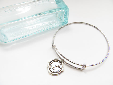 Initial Bangle Bracelet- One Initial