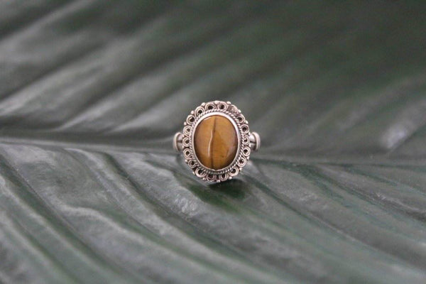 [Large sterling silver tigers eye gemstone ring Gypsy bohemian style jewelry or jewellery]- The Namaste Boutique