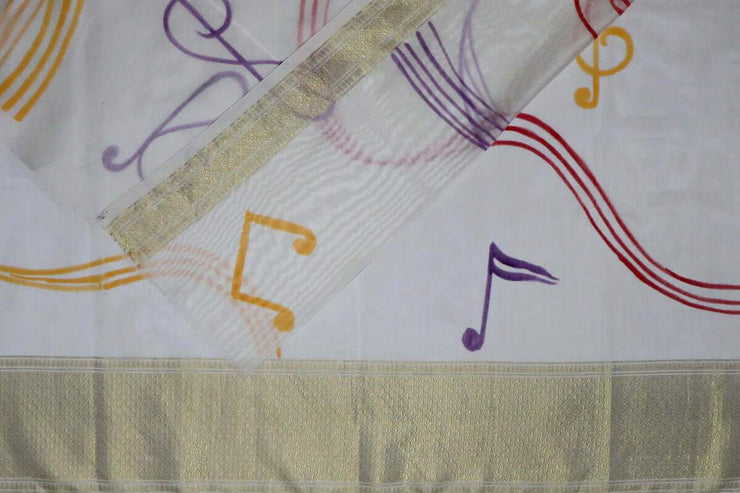 Hand Painted Sarees-Musical Notes
