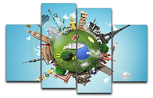 Small planet with landmarks around the world 4 Split Panel Canvas  - Canvas Art Rocks - 1