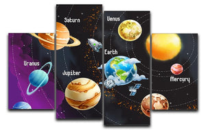 Solar system of planets 4 Split Panel Canvas  - Canvas Art Rocks - 1