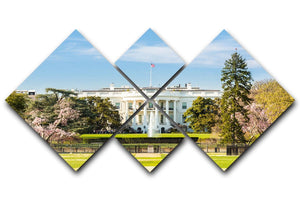 The White House Blossoms 4 Square Multi Panel Canvas  - Canvas Art Rocks - 1