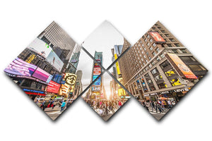 Times Square at sunset 4 Square Multi Panel Canvas  - Canvas Art Rocks - 1