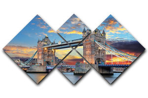 Tower Bridge 4 Square Multi Panel Canvas  - Canvas Art Rocks - 1