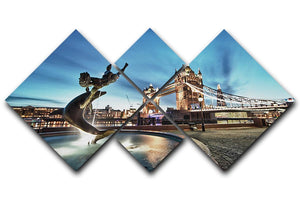 Tower Bridge and St Katharine Docks Girl 4 Square Multi Panel Canvas  - Canvas Art Rocks - 1