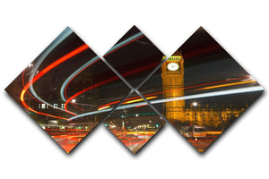 Traffic in night London 4 Square Multi Panel Canvas  - Canvas Art Rocks - 1