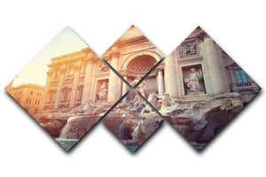 Trevi Fountain in Rome Italy 4 Square Multi Panel Canvas  - Canvas Art Rocks - 1