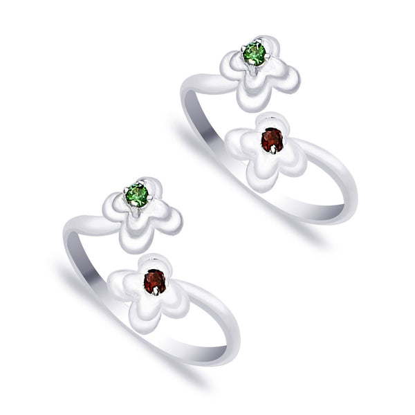Taraash Top Openable Floral Green And Red CZ 925 Sterling Silver Toe Ring For Women LR0913S