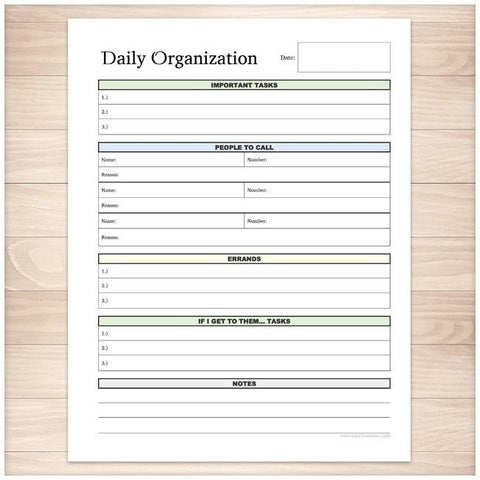 Daily Organization Category Task Sheet - Printable, at Printable Planning