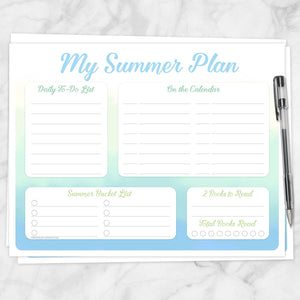 Printable My Summer Plan, Watercolor Planner Page in Blue Green Yellow at Printable Planning
