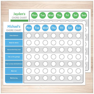 Personalized Chore Chart BUNDLE, Blue Green Weekly Pages - Printable, at Printable Planning