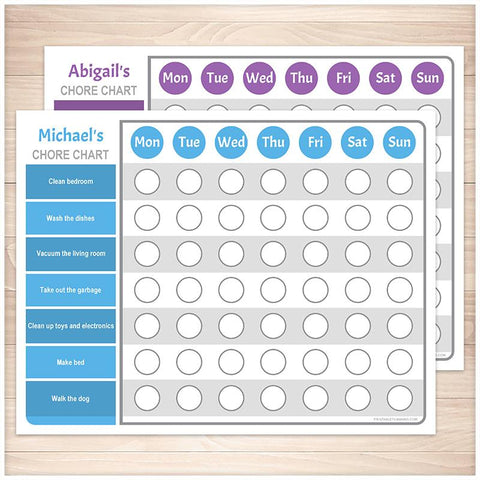 Personalized Chore Chart BUNDLE, Blue Purple Weekly Pages - Printable, at Printable Planning