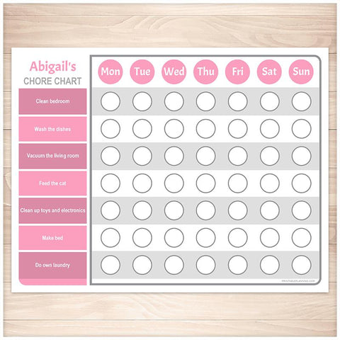 Personalized Chore Chart, Pink Weekly Page - Printable, at Printable Planning