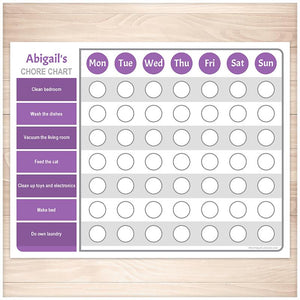Personalized Chore Chart, Purple Weekly Page - Printable, at Printable Planning