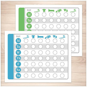 Toddler Chore Chart BUNDLE - Blue Green Daily Routine Weekly Pages - Printable, at Printable Planning