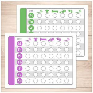 Toddler Chore Chart BUNDLE - Purple Green Daily Routine Weekly Pages - Printable, at Printable Planning