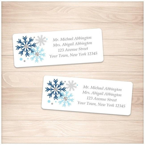 Winter Blue Gray Snowflake Address Labels - Printable Planning