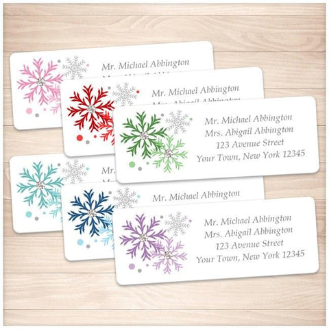 Winter Colorful Snowflake Address Labels - Printable Planning