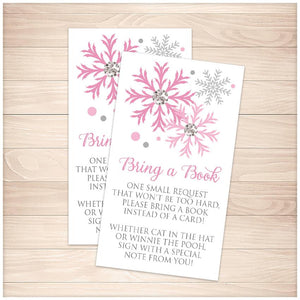 Winter Pink Silver Snowflake Bring a Book Cards - Printable, at Printable Planning