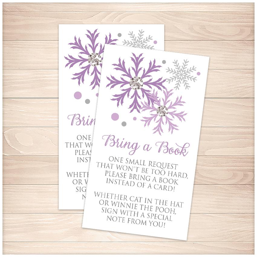 Winter Purple Silver Snowflake Bring a Book Cards - Printable, at Printable Planning