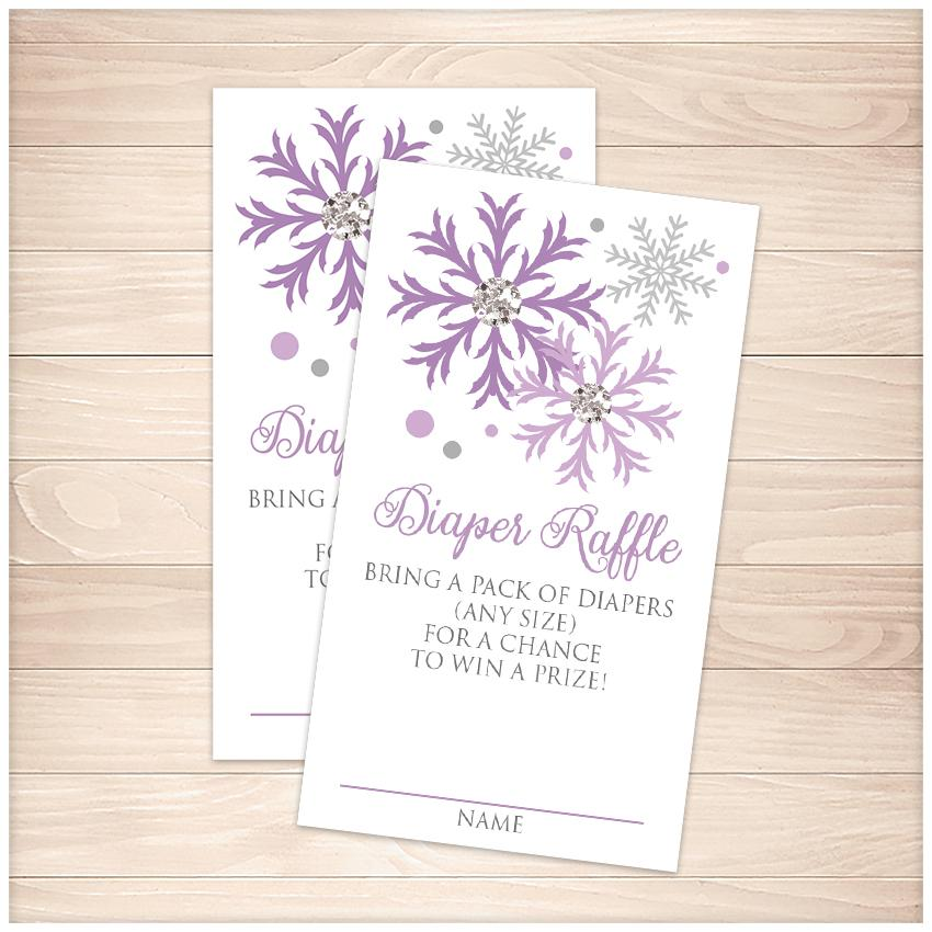 Winter Purple Silver Snowflake Diaper Raffle Cards - Printable, at Printable Planning