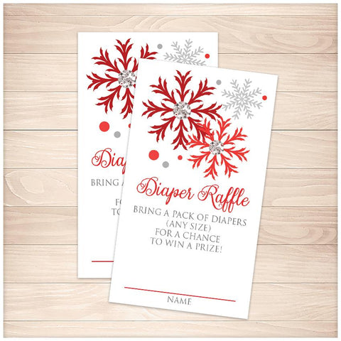 Winter Red Silver Snowflake Diaper Raffle Cards - Printable, at Printable Planning
