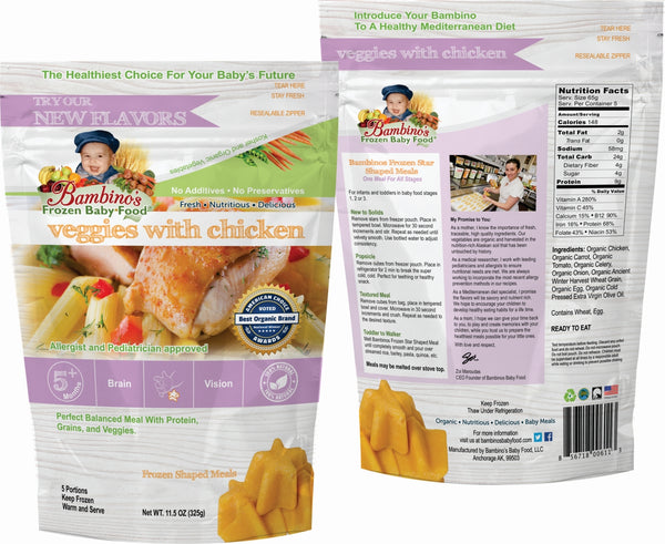 Bambinos Baby Food Frozen Star Shaped Meals - Veggies with Chicken best organic pure alaskan vegetables alaska subscription to your home front and back of packet