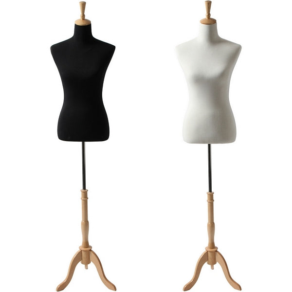 AFD-065A Ladies French Dress Form with Natural Wood Tripod Base - DisplayImporter