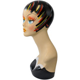 MN-202 Female Mannequin Head Form with Colorful Vintage Style Painted Look