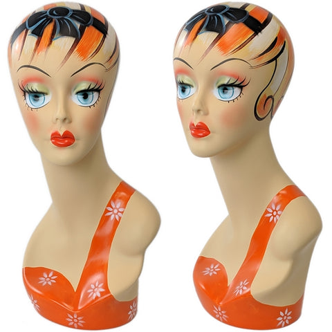 MN-203 Female Mannequin Head Form with Colorful Vintage Style Painted Look