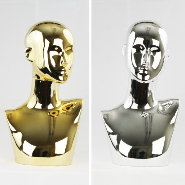 MN-441 Chrome Female Abstract Mannequin Head Display with Pierced Ears