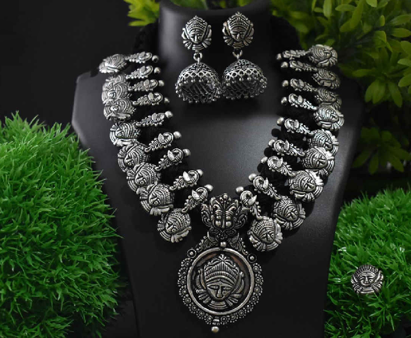 Stone Worked Temple Jewellery Set-SWTJS007